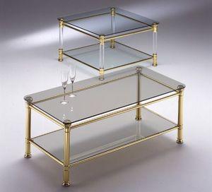 IONICA 670, Table carrée avec des sommets 2 en verre, pour la réception