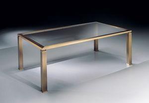 MADISON 3266, Table basse rectangulaire avec plateau en verre pour le salon