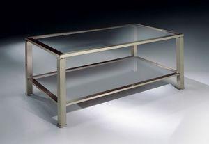 MADISON 3270, Table rectangulaire de café dans le nickel, le plateau en verre, pour les pièces de vie