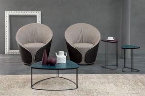 MIX, Petites tables avec structure en métal et plateau en MDF sérigraphié ou verre fusionné