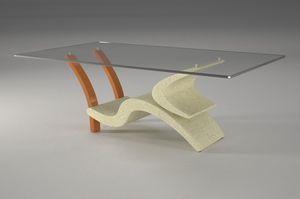Morgan, Table basse avec piètement en pierre et bois