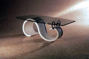 Onda, Table basse avec plateau en verre