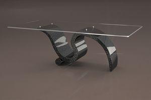 Perseo, Table basse avec plateau en verre rectangulaire
