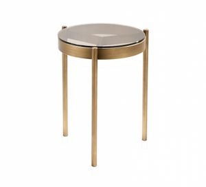 Piccadilly Table d'appoint, Table d'appoint, en métal bronzé, avec plateau en verre rond