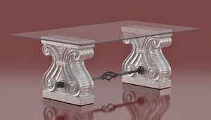 Platone, Table basse avec chapiteaux de pierre