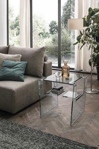PROTEO TLC11, Table basse en verre, avec étagères