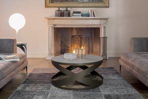 RIMINI, Table basse avec structure en métal base en marbre et plateau en verre