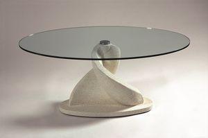 Shell, Table basse ovale avec plateau en verre
