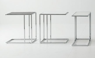 Small tables metal-glass, Table basse, en acier et en verre, pour la zone de conversation