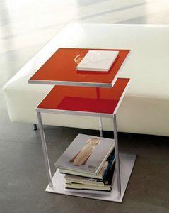 Square, Table avec deux plateaux en verre, pivotante disponible
