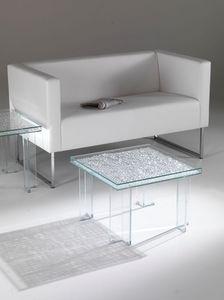 Table basse 01, Table basse avec plateau carré, en verre, pour salon