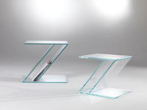 Tavolino 02, Table basse en verre, Zed forme, avec porte-revues