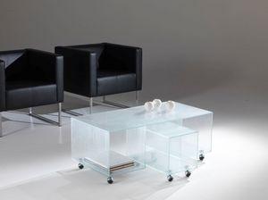 Tavolino 04, Table basse avec roues idéal pour les zones d'attente