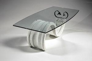 Tellus, Table basse de style classique avec plateau en verre