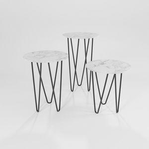 Trittico, Tables en fer avec plateau rond