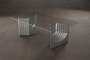 Ulisse, Table basse moderne avec plateau en verre