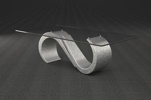 Urano, Table basse avec plateau en verre rectangulaire