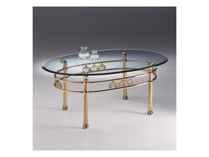 VIVALDI 1060, Table de salon ovale en m�tal, dessus en verre transparent