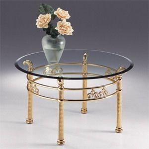 VIVALDI 1062, Table ronde en métal, plateau en verre transparent avec biseau