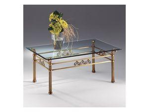 VIVALDI 1066, Table basse en verre et métal, pour les beaux salon
