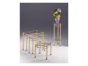 VIVALDI 1074, Table basse en métal brillant, le style contemporain et classique