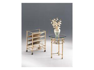 VIVALDI 1080, Table basse ronde de salon, en métal, plateau en verre