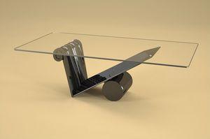 Zefiro, Table basse de style moderne avec plateau en verre