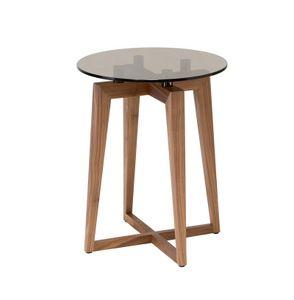 Zen table basse ronde, Canaletto petite table en noyer avec plateau rond en verre