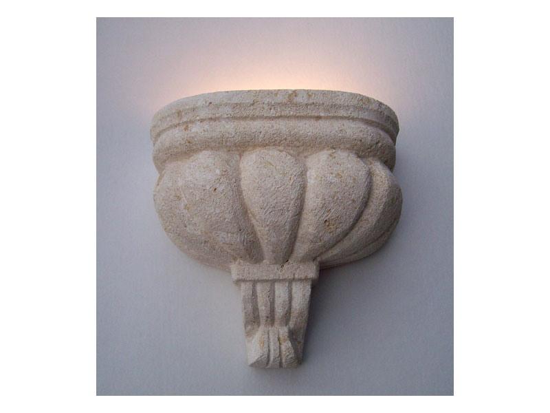 Agata, Lampe Applique à Vicence pierre blanche, lumière incandescente