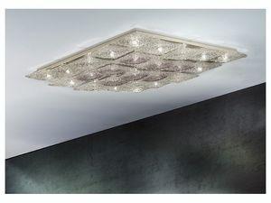 Alaska ceiling lamp, �clairage de plafond losange en m�tal et verre, diff�rentes finitions