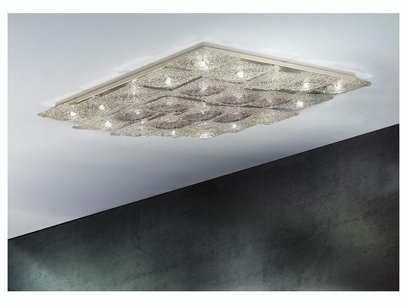 Alaska ceiling lamp, Éclairage de plafond losange en métal et verre, différentes finitions