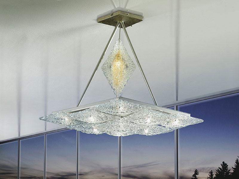 Alaska ceiling lamp, Lustre avec des éléments en forme de losange, style imaginatif
