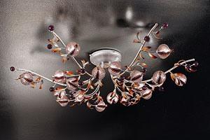 Ametista ceiling lamp, Plafonnier contemporain en fer forgé dans un style naturaliste