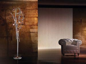 Ametista floor lamp, Lampadaire moderne avec verre soufflé diffuseurs craquelés