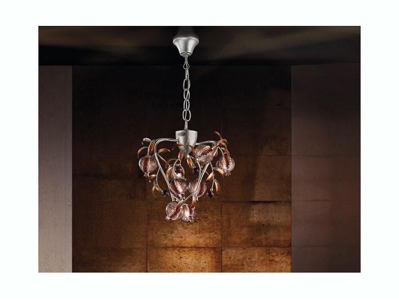 Ametista hanging lamp, Lustre platine finition couleur, verre soufflé craquelé