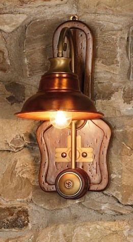 Art. SL 137, Applique en bois et cuivre, style campagnard