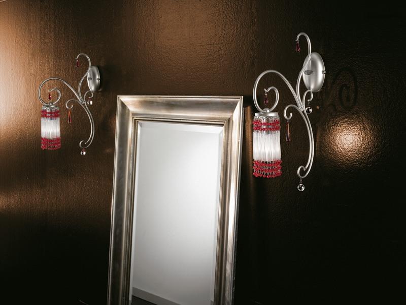 Casanova applique, Applique avec des pendentifs en verre de Murano, des accessoires de différentes couleurs