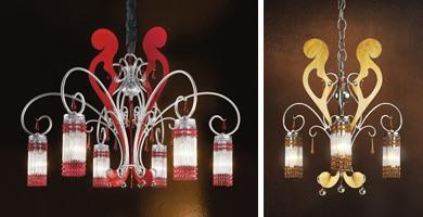 Casanova chandelier, Lustre fer forgé et argent antique laqué