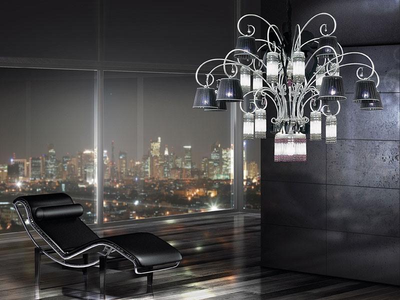Casinò chandelier, Lustre moderne avec 25 lumières, diffuseurs en organza