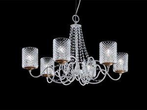 Class chandelier, Lustre avec abat-jour en organza et pendentifs Sw