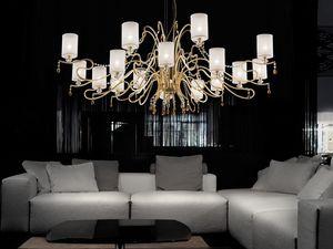 Delhia chandelier, Lustre avec des lignes sophistiquées avec effet dramatique