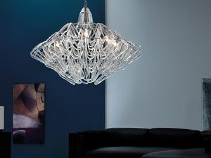 Diamante chandelier, Suspension r�glable en hauteur, en verre de Murano
