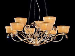 Dolce Vita chandelier, Lustre classique en métal peint et finition à la feuille