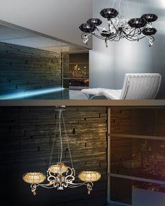 Dream chandelier, Lampe avec des diffuseurs en organza et de strass Swarovsky