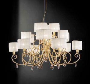 Elena ceiling lamp, Plafonnier avec pendeloques de cristal