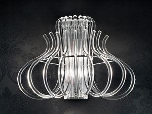 Essenzia applique, Applique moderne en métal chromé et verre de Murano