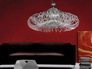Essenzia chandelier, Lustre avec diffuseurs en cristal, pour les classiques salons