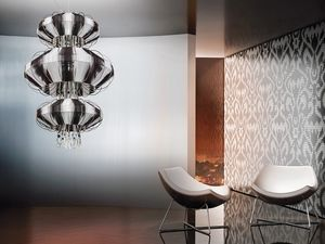 Full Moon chandelier, Lustre avec pendentifs Swarovski et perles de cristal