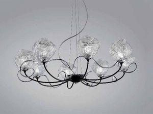 Gomitoli chandelier, Lustre en verre de Murano travaillé avec des techniques