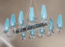 Karma chandelier, Lustre en métal chromé et cadre en laiton